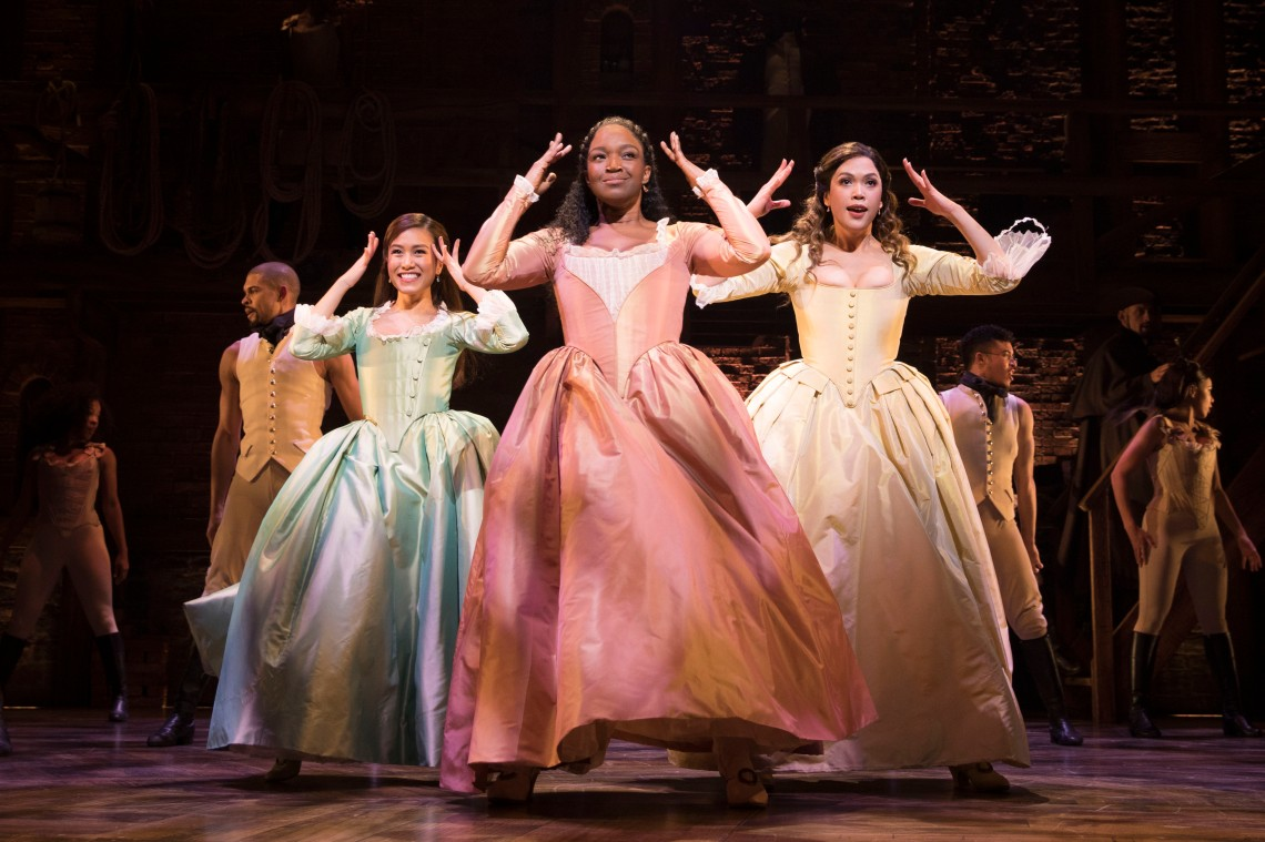l-r Rachelle Ann Go (Eliza), Rachel John (Angelica) and Christine Allado (Peggy) - The Schuyler Sisters - Photo Credit Matthew Murphy
