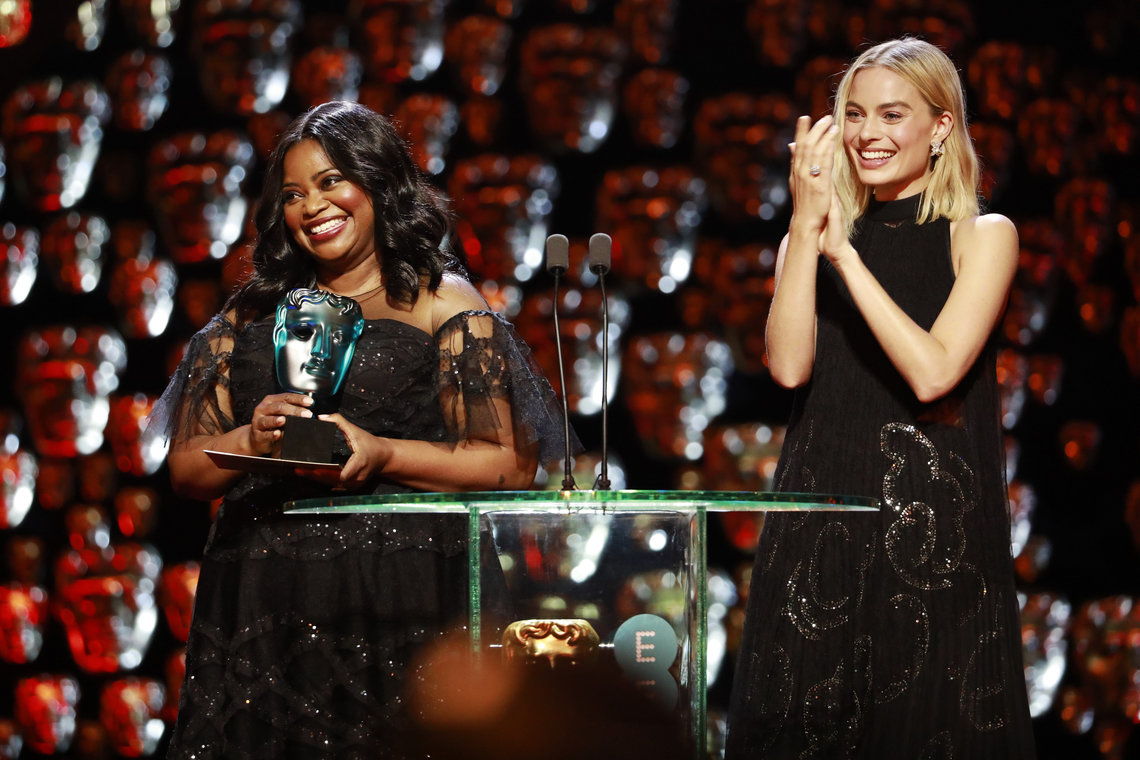 Octavia Spencer and Margot Robbie present the EE Rising Star bafta