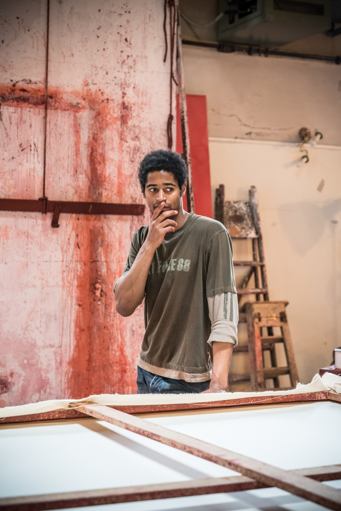 John Logan's Red in rehearsals for Michael Grandage Company. Alfred Enoch (Ken) Photo credit Marc Brenner (4) - Copy