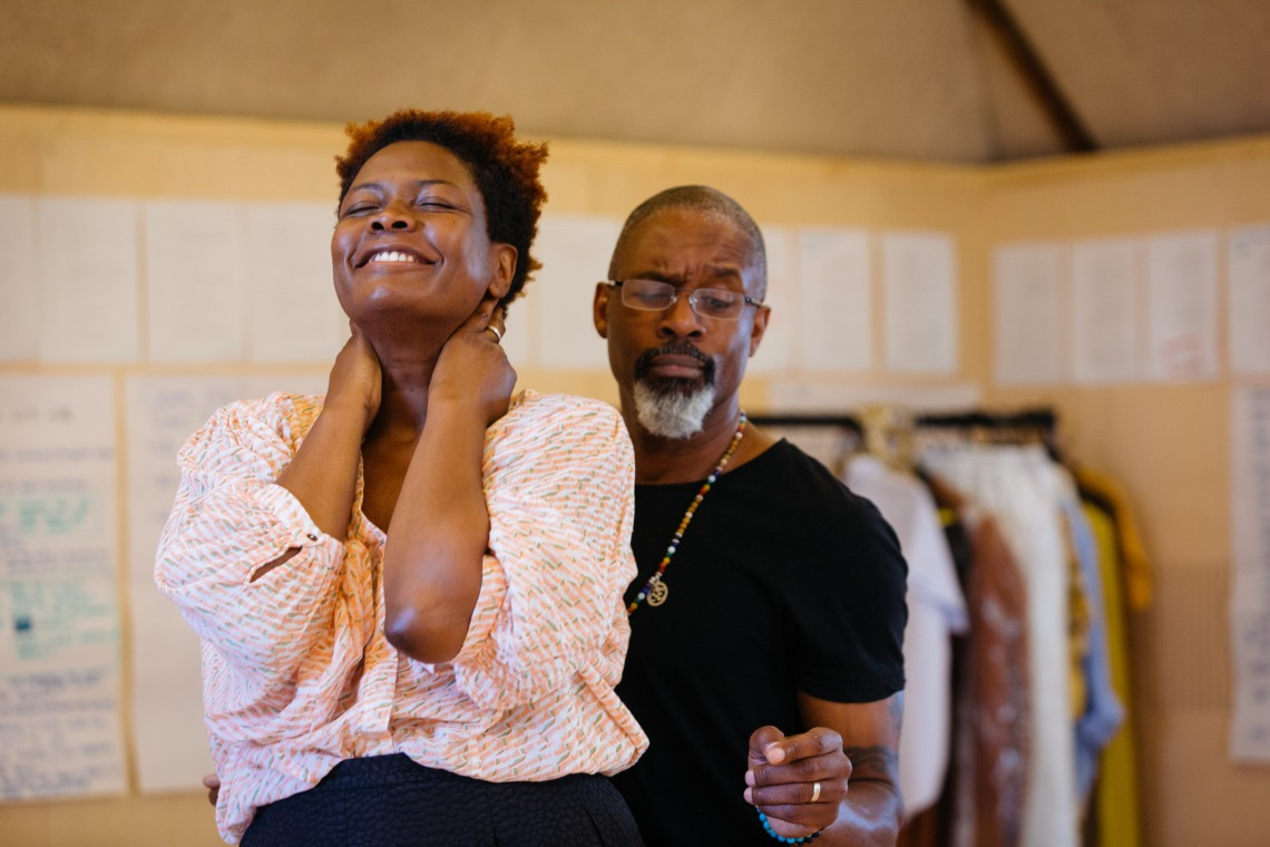 Sarah Niles and Wil Johnson in rehearsals for Leave Taking at the Bush Theatre © Helen Murray 4