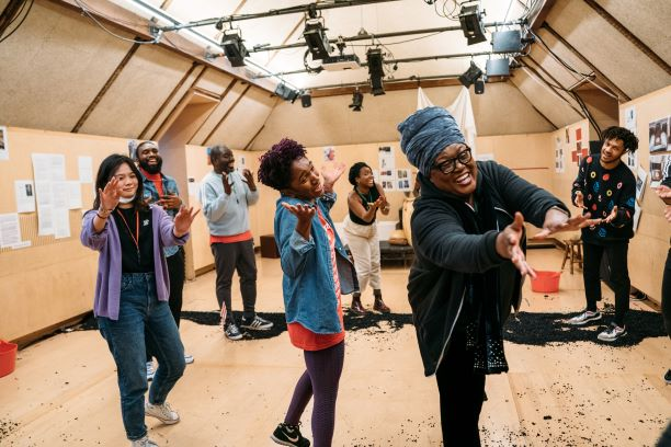 The company rehearsals 'The High Table' by Temi Wilkey Bush Theatre. Photo Helen Murray.